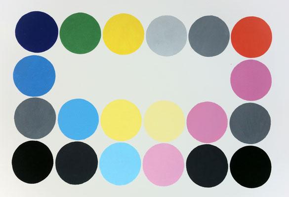 Ellen Roß: o.T._02, 2015  Vinyl auf Büttenkarton (300gr/qm), 31 x 41 cm