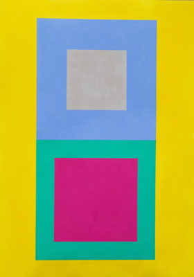 Im Quadrat n°1, 2016, Vinyl auf Karton, 50 x 70 cm
