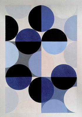 Ellen Roß: Quadratur des Kreises n°1, 2015, Vinyl auf Karton, FABIANO 400gr/qm, 50 x 70 cm