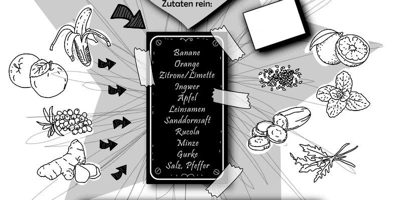 Rezept - Vektorgrafik - Illustrationen Doris Maria Weigl / Menü