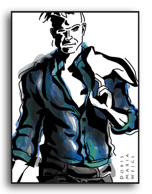 Mann mit Jacke - Vektorgrafik - Illustrationen Doris Maria Weigl / Menschen