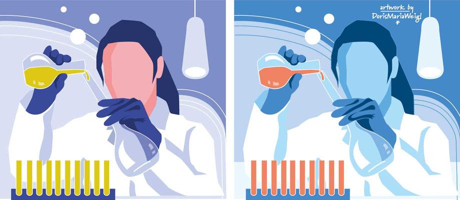 Labor - Vektorgrafik - Illustrationen Doris Maria Weigl / Medizin