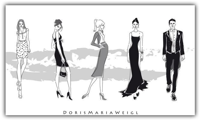 Dresscode - Vektorgrafik - Illustrationen Doris Maria Weigl / Mixed Media
