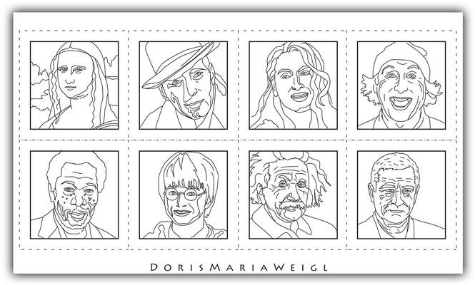 digitale Illustrationen für Malbuch Farbenzeit -  Doris Maria Weigl / Portraits zum Ausmalen