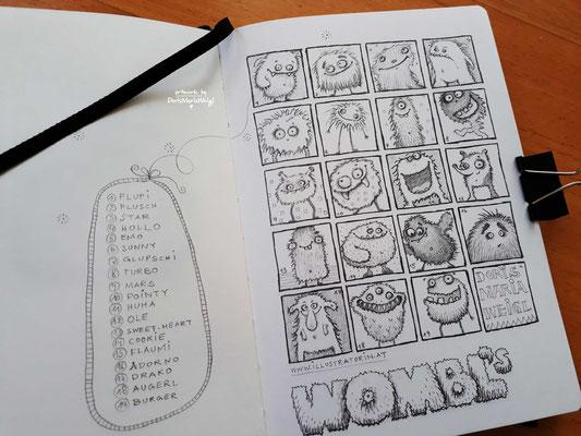 """Sketchbook - Illustration - Doris Maria Weigl - """"Wombl`s"""""""