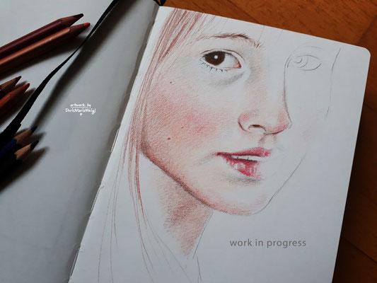 Sketchbook - Illustration - Doris Maria Weigl - Portrait mit Farbstiften in Arbeit