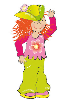 Mädchen mit Hut - Vektorgrafik - Illustrationen Doris Maria Weigl / Kinderbuch