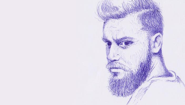 mit Bart - blauer Kugelschreiber - Illustrationen Doris Maria Weigl / Portrait