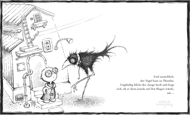 Theodors Abenteuer - Tuschezeichnung - Illustrationen Doris Maria Weigl / Kinderbuch