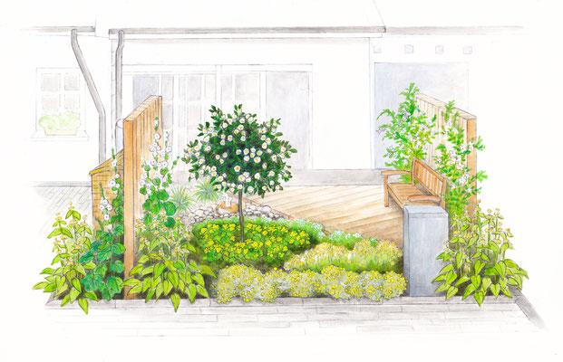 Gartenszene 1 Burda - Aquarell - Illustrationen Doris Maria Weigl / Landschaft