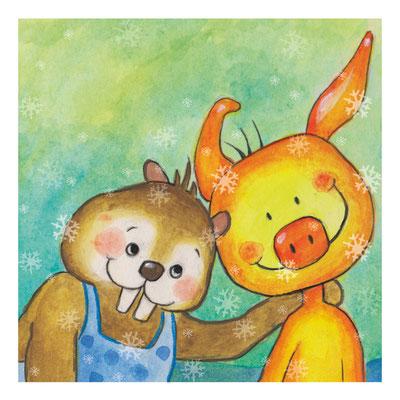 Schweinchen Rosa und Bernhard - Aquarell - Illustrationen Doris Maria Weigl / Kinderbuch