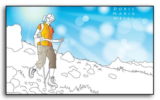 Wandern - Vektorgrafik - Illustrationen Doris Maria Weigl / Menschen