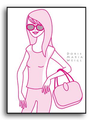 rosa Dame - Vektorgrafik - Illustrationen Doris Maria Weigl / Mixed Media