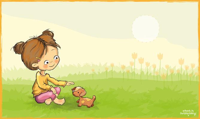Mädchen mit Hund - Vektorgrafik - Illustrationen Doris Maria Weigl / Kinderbuch