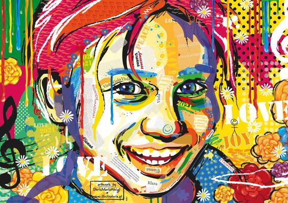 Vektorgrafik - Portrait Klara - Illustration - Doris Maria Weigl