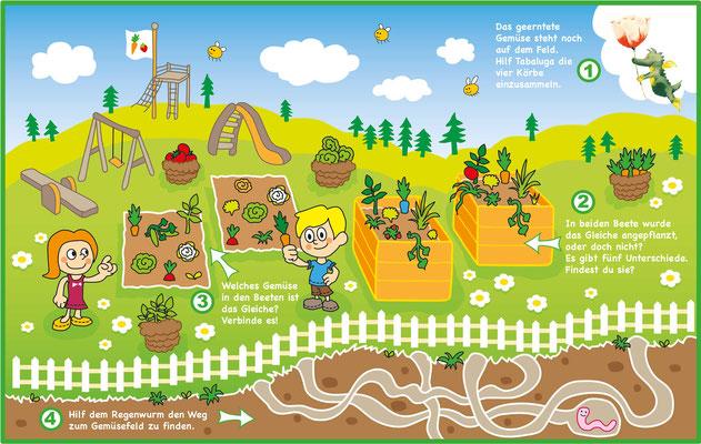 Rätsel Garten - Vektorgrafik - Illustrationen Doris Maria Weigl / Kinderbuch
