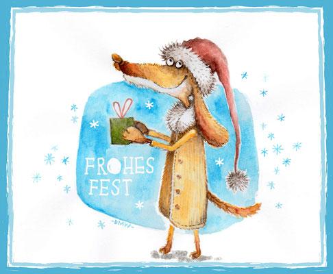 Hund mit Geschenk - Vektorgrafik - Illustrationen Doris Maria Weigl / Tiere