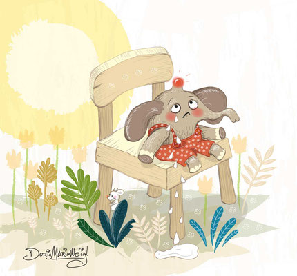 Elefant mit Beule - Vektorgrafik - Illustrationen Doris Maria Weigl / Kinderbuch