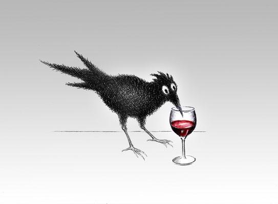Illustrationen Doris Maria Weigl / Krähe mit Weinglas