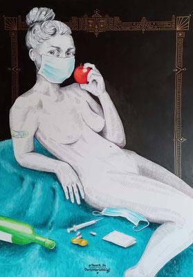 ***Pandemia*** Das ganze Volk.   Acryl, Gold, Tinte, Graphit auf Artist's Board – 60 x 84 cm - -Doris Maria Weigl