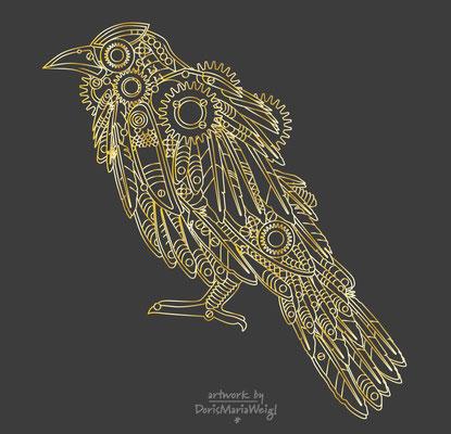 Illustration - Vektorgrafik -  Doris Maria Weigl - Krähe in Gold