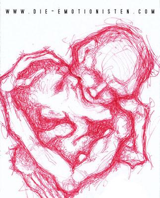 Küssende - roter Kugelschreiber - Illustrationen Doris Maria Weigl / Menschen