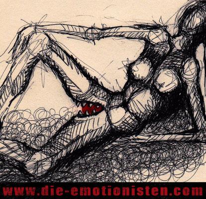 """Vagina Dentata"" - Acryl und Tinte auf Papier - 20x20cm - Doris Maria Weigl / Art"