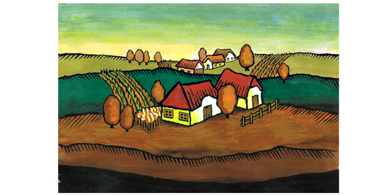 Burgenland - Aquarell - Illustrationen Doris Maria Weigl / Landschaft