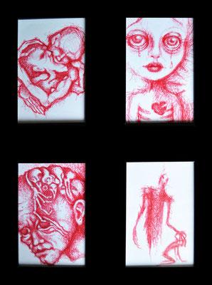 Studien mit rotem Kugelschreiber auf Papier - 14x18cm - Doris Maria Weigl