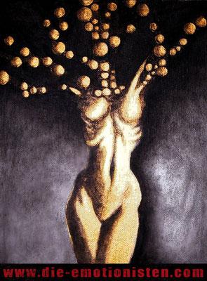 """""""Element 13"""" - Acryl und Gold auf Leinen, 18x24cm - Doris Maria Weigl"""