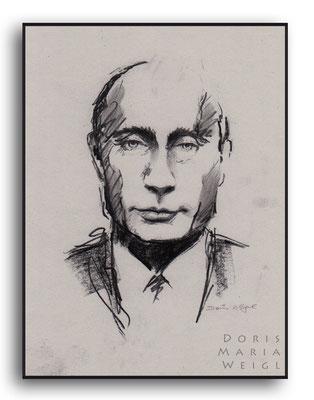 Wladimir Wladimirowitsch Putin - Kohle - Illustrationen Doris Maria Weigl / Portrait