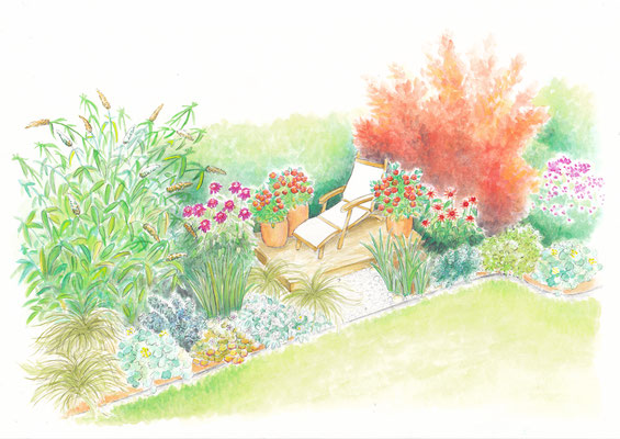 Gartenszene 2 Burda - Aquarell - Illustrationen Doris Maria Weigl / Landschaft