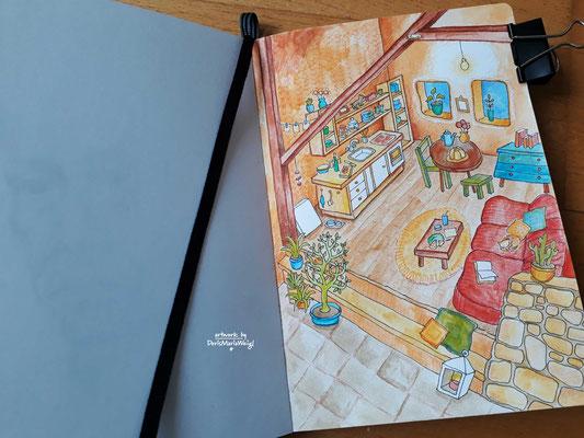 """Sketchbook - Illustration - Doris Maria Weigl - """"Aquarell"""""""