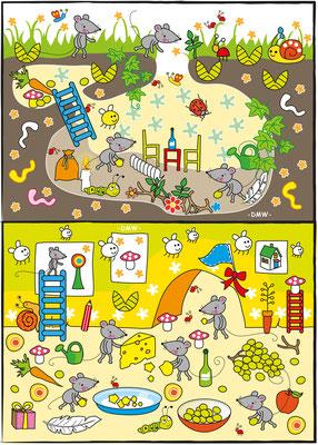 Kinderrätsel Mäuse - Vektorgrafik - Illustrationen Doris Maria Weigl / Kinderbuch