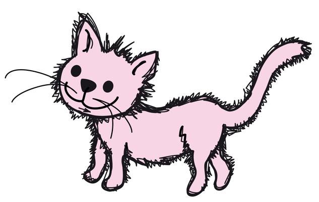 Illustrationen Doris Maria Weigl / Katze rosa