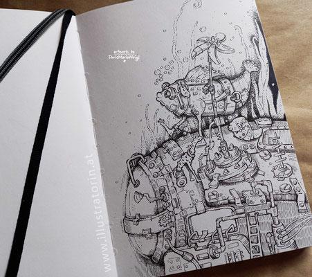 Unter Wasser - Tuschezeichnung - Illustrationen Doris Maria Weigl / Kinderbuch