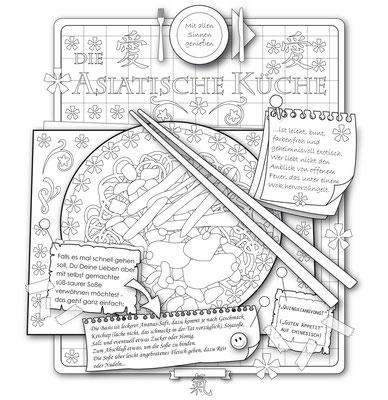 Asiatische Küche - Vektorgrafik - Illustrationen Doris Maria Weigl / Menü