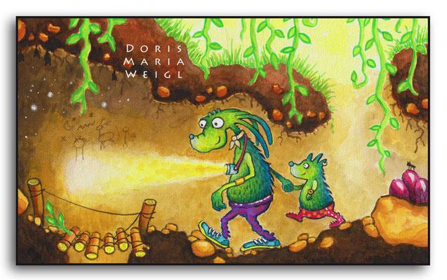 Die Erdminis - Aquarell - Illustrationen Doris Maria Weigl / Kinderbuch