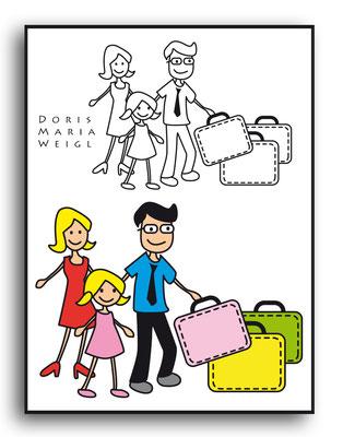 Reisende - Vektorgrafik - Illustrationen Doris Maria Weigl / Menschen
