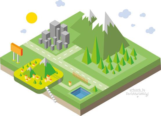 Landschaft - isometric Design - Vektorgrafik - Doris Maria Weigl Illustrationen