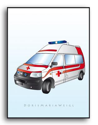 Rettungswagen - Vektorgrafik - Illustrationen Doris Maria Weigl / Technik
