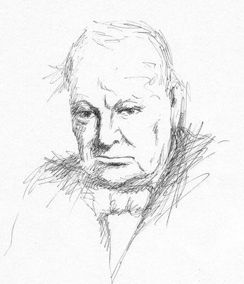 Winston Churchill - Kohle - Illustrationen Doris Maria Weigl / Portrait