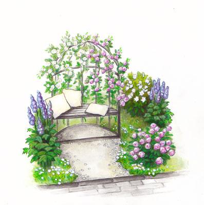 Gartendetail Burda - Aquarell - Illustrationen Doris Maria Weigl / Landschaft