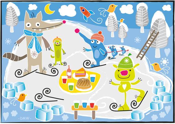 Kinderrätsel Eislaufen - Vektorgrafik - Illustrationen Doris Maria Weigl / Kinderbuch
