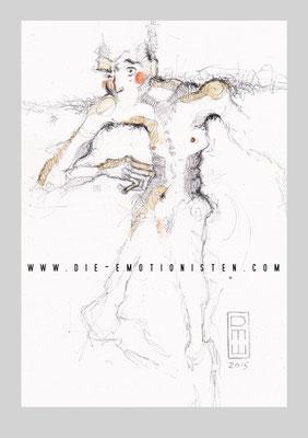 """""""vielleicht"""" - Serie Mute - Graphit, Gold und Aquarell auf Zeichenpapier, 20x30cm - Doris Maria Weigl"""