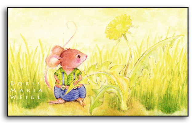 Maus in der Wiese - Aquarell - Illustrationen Doris Maria Weigl / Kinderbuch