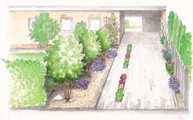 Gartenszene 8 Burda - Aquarell - Illustrationen Doris Maria Weigl / Landschaft
