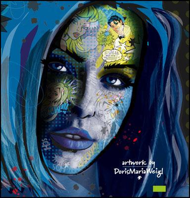 Digital Art - blaues Portrait - Illustration - Doris Maria Weigl
