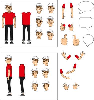 Vektorgrafik Figur Teile - Illustrationen Doris Maria Weigl / Comic