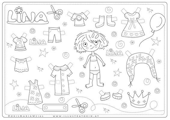 Lina Anziehpuppe - Vektorgrafik - Illustrationen Doris Maria Weigl / Kinderbuch